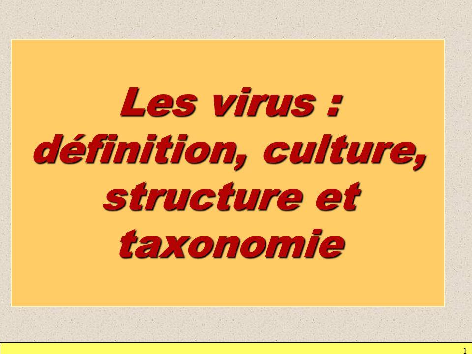 1 Les virus : définition, culture, structure et taxonomie