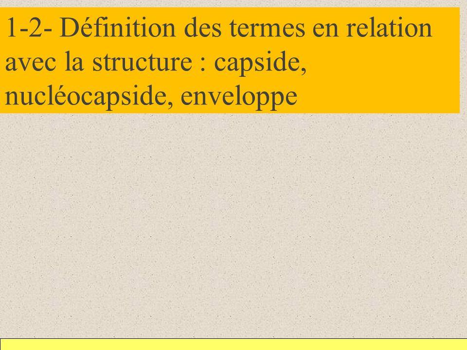 1-2- Définition des termes en relation avec la structure : capside, nucléocapside, enveloppe