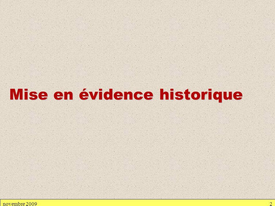 novembre 20092 Mise en évidence historique