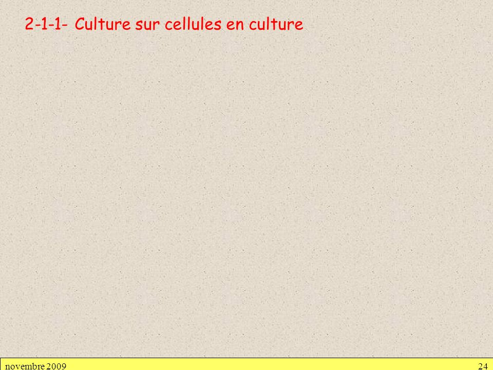 2-1-1- Culture sur cellules en culture novembre 200924