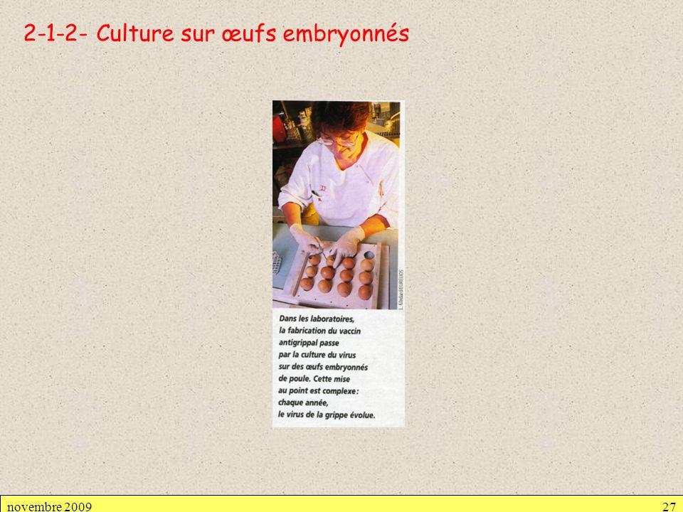 2-1-2- Culture sur œufs embryonnés novembre 200927