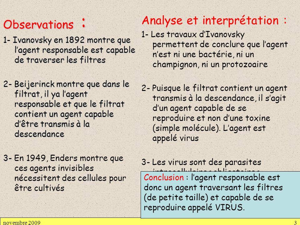 De nombreuses maladies furent ainsi expliquées, dues à des virus :fièvre jaune (1901), rage (1903), vaccine (1906), poliomyélite (1909), fièvre aphteuse…… Culture des virus réalisée en 1926 par Carrel : culture du virus de sarcome de Rous (RSV), virus cancérigène du poulet sur cellules fraîches de poulet Observables seulement après la découverte du microscope électronique (1934), leur taille variant le plus souvent de 20 à 300 nm.