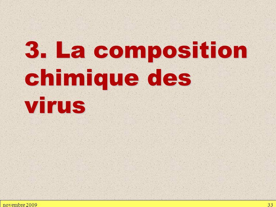 novembre 200933 3. La composition chimique des virus