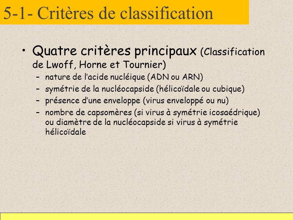 5-1- Critères de classification Quatre critères principaux (Classification de Lwoff, Horne et Tournier) –nature de lacide nucléique (ADN ou ARN) –symé