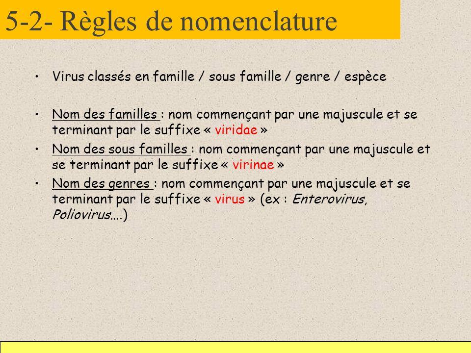 5-2- Règles de nomenclature Virus classés en famille / sous famille / genre / espèce Nom des familles : nom commençant par une majuscule et se termina