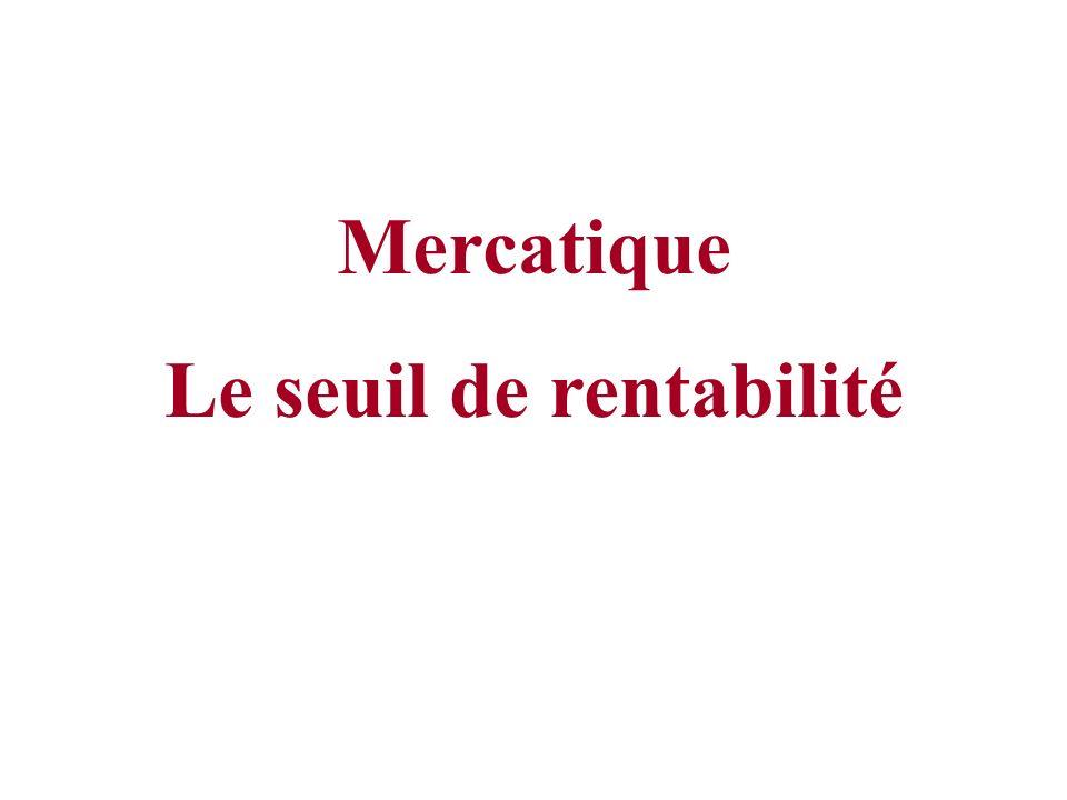 Mercatique Le seuil de rentabilité