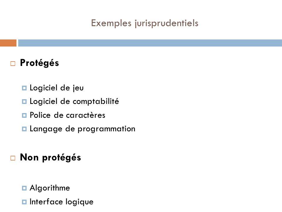 Exemples jurisprudentiels Protégés Logiciel de jeu Logiciel de comptabilité Police de caractères Langage de programmation Non protégés Algorithme Inte