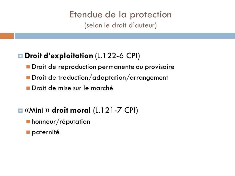 Etendue de la protection (selon le droit dauteur) Droit dexploitation (L.122-6 CPI) Droit de reproduction permanente ou provisoire Droit de traduction