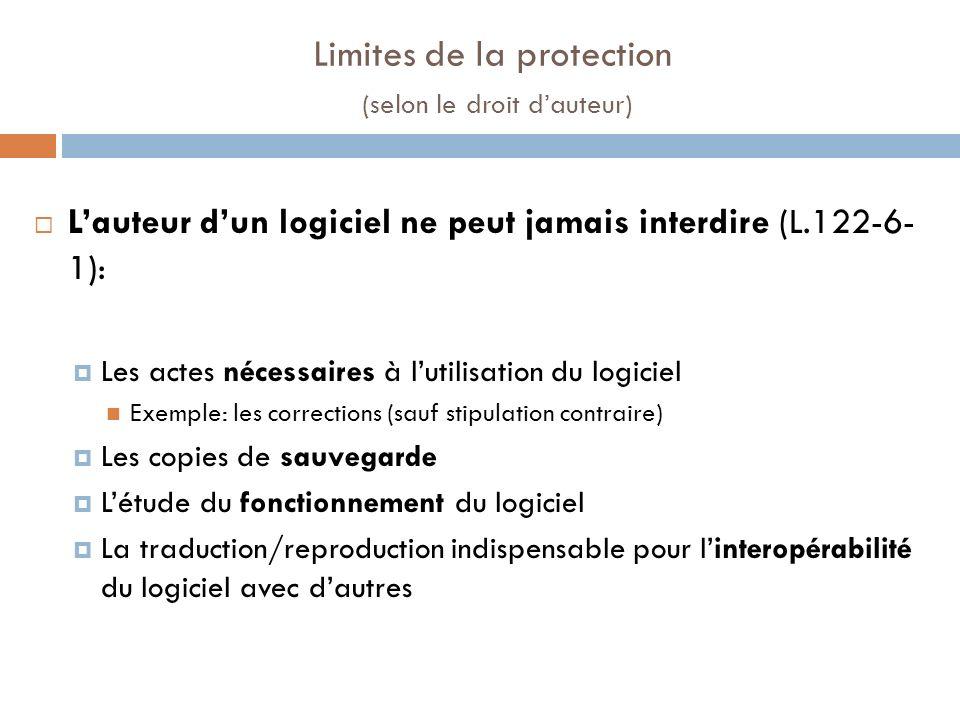 Limites de la protection (selon le droit dauteur) Lauteur dun logiciel ne peut jamais interdire (L.122-6- 1): Les actes nécessaires à lutilisation du