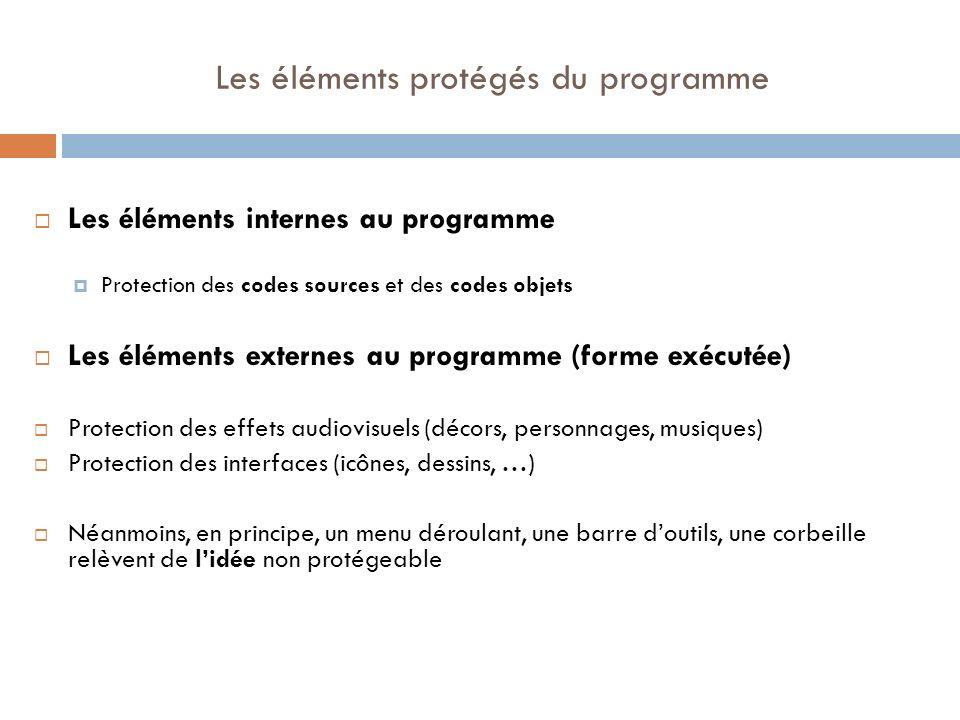 Les éléments protégés du programme Les éléments internes au programme Protection des codes sources et des codes objets Les éléments externes au progra