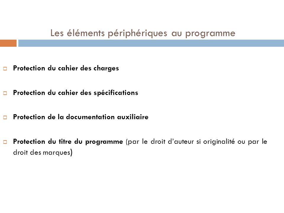 Les éléments périphériques au programme Protection du cahier des charges Protection du cahier des spécifications Protection de la documentation auxili
