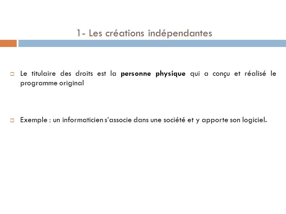 1- Les créations indépendantes Le titulaire des droits est la personne physique qui a conçu et réalisé le programme original Exemple : un informaticie