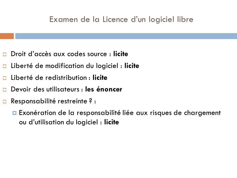 Examen de la Licence dun logiciel libre Droit daccès aux codes source : licite Liberté de modification du logiciel : licite Liberté de redistribution