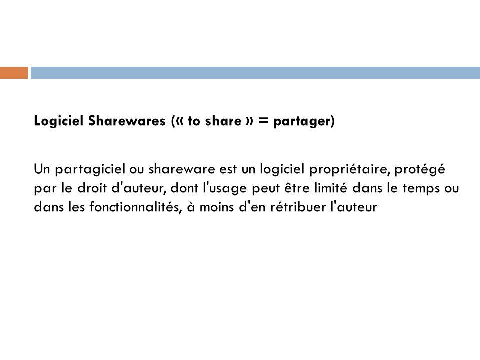 Logiciel Sharewares (« to share » = partager) Un partagiciel ou shareware est un logiciel propriétaire, protégé par le droit d'auteur, dont l'usage pe