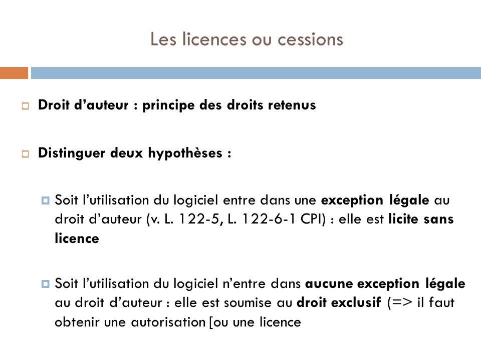 Les licences ou cessions Droit dauteur : principe des droits retenus Distinguer deux hypothèses : Soit lutilisation du logiciel entre dans une excepti