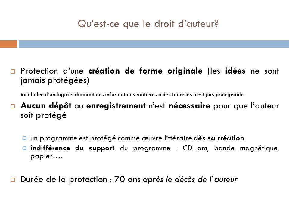 Plusieurs éléments formels dun site peuvent être protégés : - le graphisme - la mise en page - la typographie Le contenu dun site peut être protégé Le nom du site peut être protégé