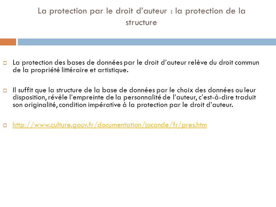La protection par le droit dauteur : la protection de la structure La protection des bases de données par le droit dauteur relève du droit commun de l