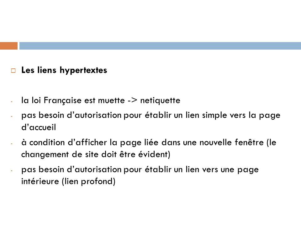 Les liens hypertextes - la loi Française est muette -> netiquette - pas besoin dautorisation pour établir un lien simple vers la page daccueil - à con