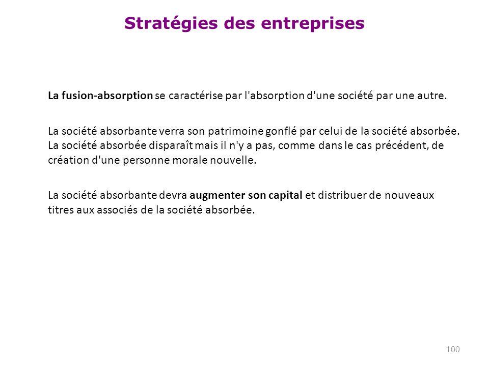 Stratégies des entreprises La fusion-absorption se caractérise par l'absorption d'une société par une autre. La société absorbante verra son patrimoin