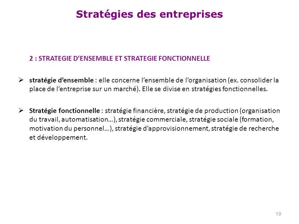 Stratégies des entreprises 2 : STRATEGIE DENSEMBLE ET STRATEGIE FONCTIONNELLE stratégie densemble : elle concerne lensemble de lorganisation (ex. cons