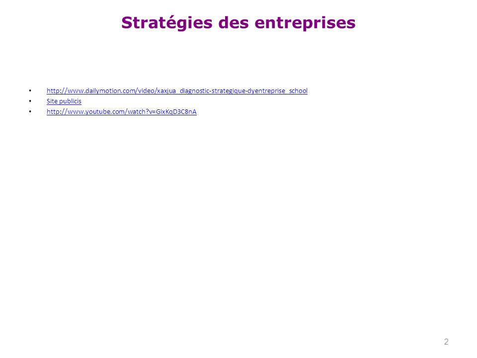 Stratégies des entreprises http://www.dailymotion.com/video/xaxjua_diagnostic-strategique-dyentreprise_school Site publicis http://www.youtube.com/wat