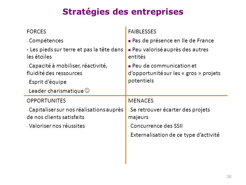 Stratégies des entreprises 36 FORCES - Compétences - Les pieds sur terre et pas la tête dans les étoiles - Capacité à mobiliser, réactivité, fluidité