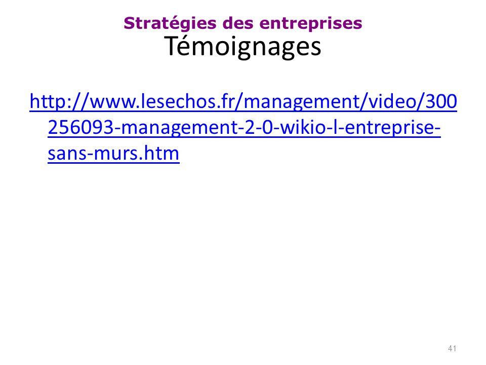 Stratégies des entreprises Témoignages http://www.lesechos.fr/management/video/300 256093-management-2-0-wikio-l-entreprise- sans-murs.htm 41