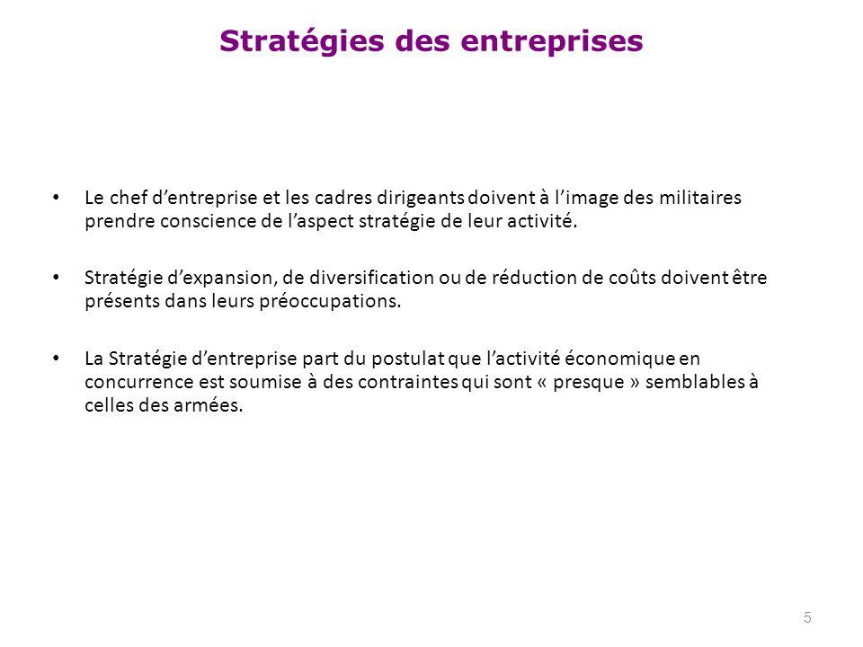 Stratégies des entreprises La stratégie dentreprise est le processus par lequel léquipe dirigeante de lentreprise décide des objectifs à atteindre et des ressources à mettre en œuvre.