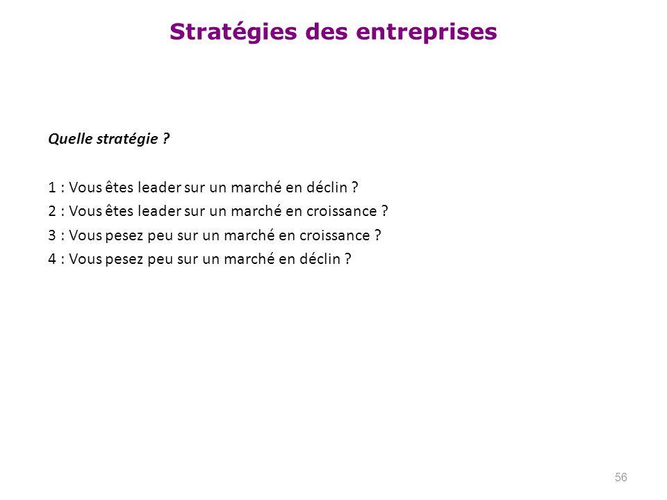 Stratégies des entreprises Quelle stratégie ? 1 : Vous êtes leader sur un marché en déclin ? 2 : Vous êtes leader sur un marché en croissance ? 3 : Vo