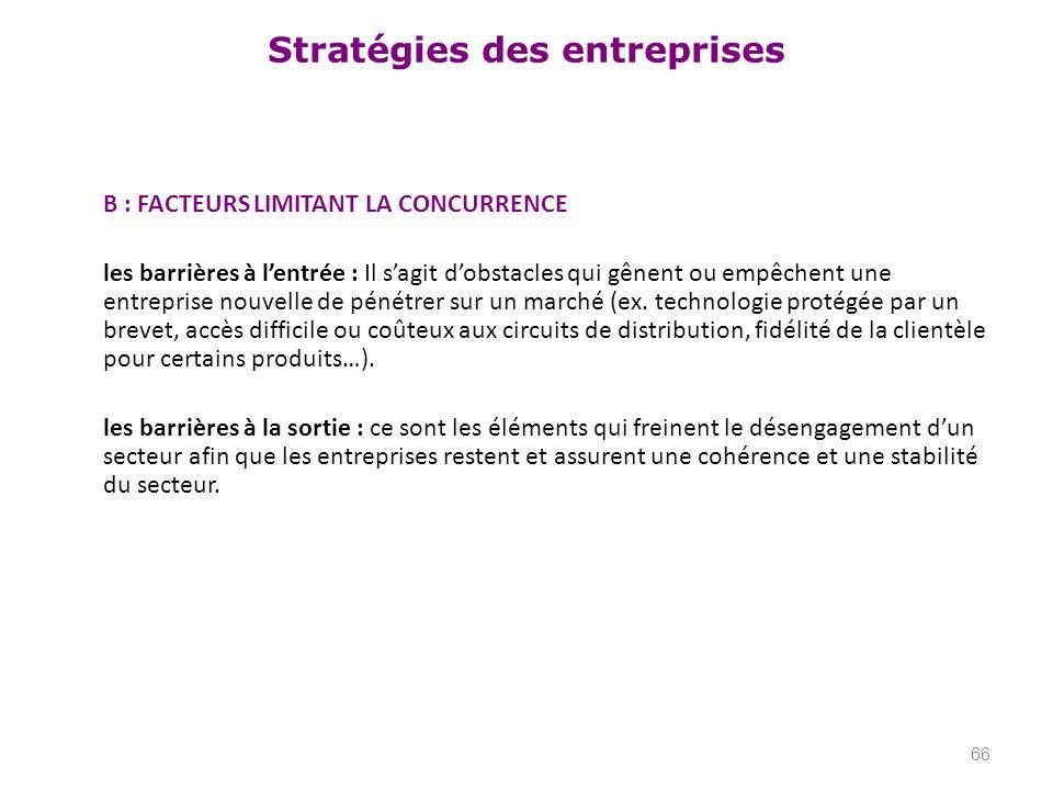 Stratégies des entreprises B : FACTEURS LIMITANT LA CONCURRENCE les barrières à lentrée : Il sagit dobstacles qui gênent ou empêchent une entreprise n