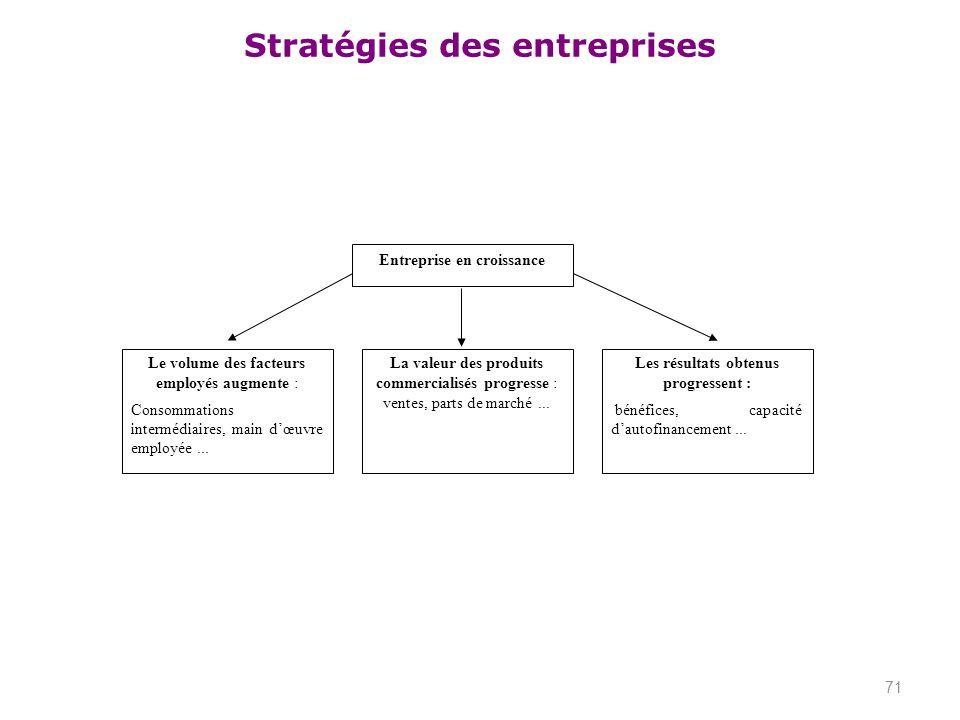 Stratégies des entreprises 71 Entreprise en croissance Le volume des facteurs employés augmente : Consommations intermédiaires, main dœuvre employée..