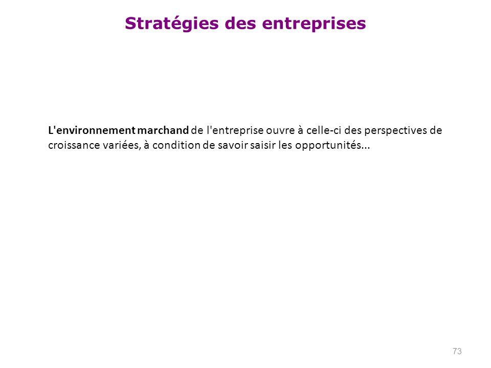 Stratégies des entreprises L'environnement marchand de l'entreprise ouvre à celle-ci des perspectives de croissance variées, à condition de savoir sai