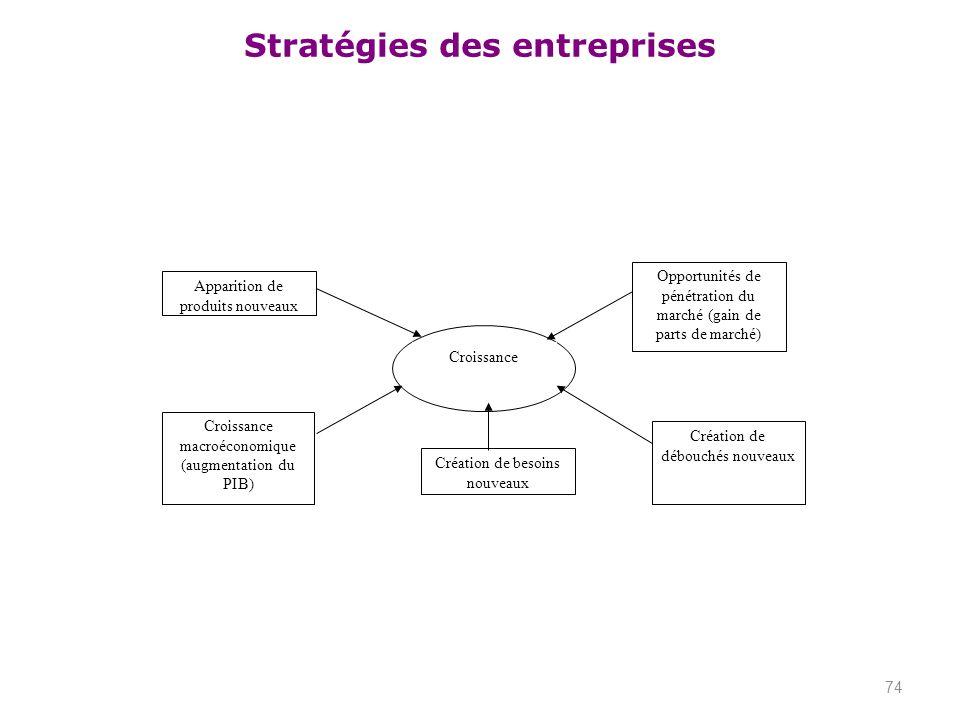 Stratégies des entreprises 74 Croissance Apparition de produits nouveaux Croissance macroéconomique (augmentation du PIB) Création de débouchés nouvea