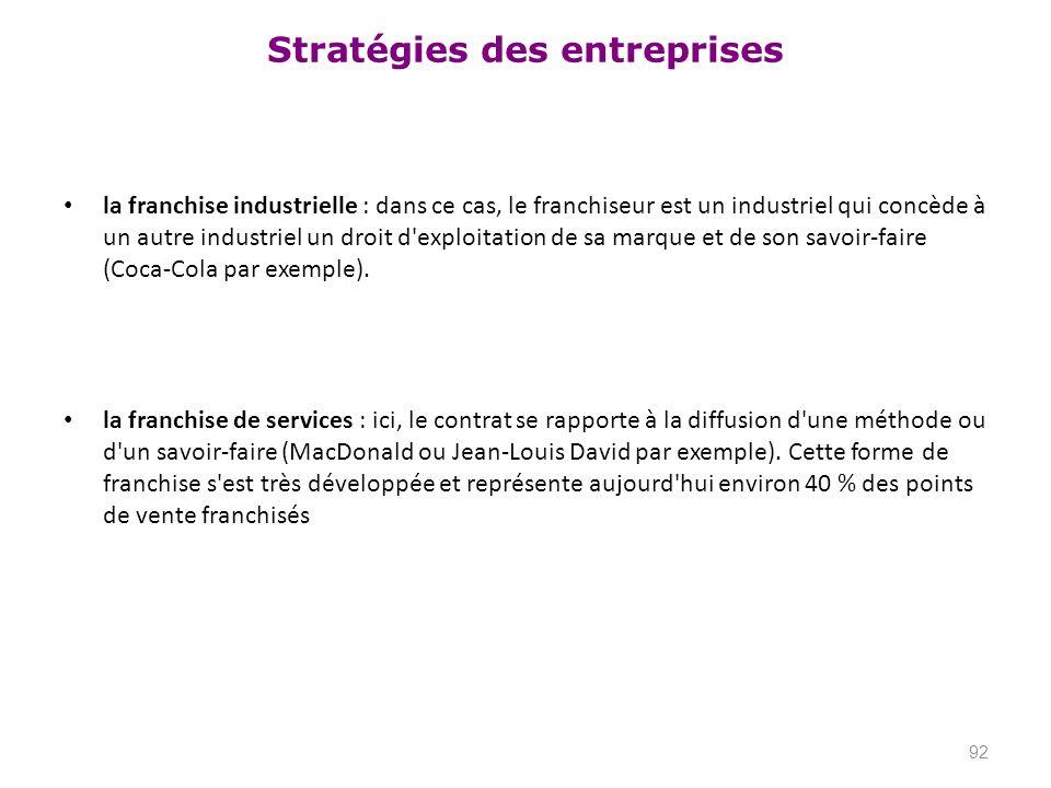 Stratégies des entreprises la franchise industrielle : dans ce cas, le franchiseur est un industriel qui concède à un autre industriel un droit d'expl
