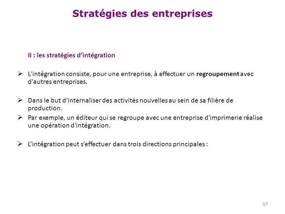 Stratégies des entreprises II : les stratégies dintégration L'intégration consiste, pour une entreprise, à effectuer un regroupement avec d'autres ent