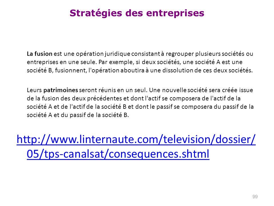 Stratégies des entreprises La fusion est une opération juridique consistant à regrouper plusieurs sociétés ou entreprises en une seule. Par exemple, s