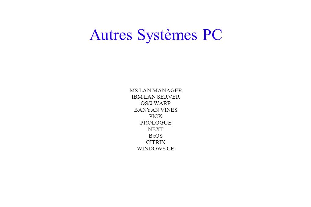 Autres Systèmes PC MS LAN MANAGER IBM LAN SERVER OS/2 WARP BANYAN VINES PICK PROLOGUE NEXT BeOS CITRIX WINDOWS CE