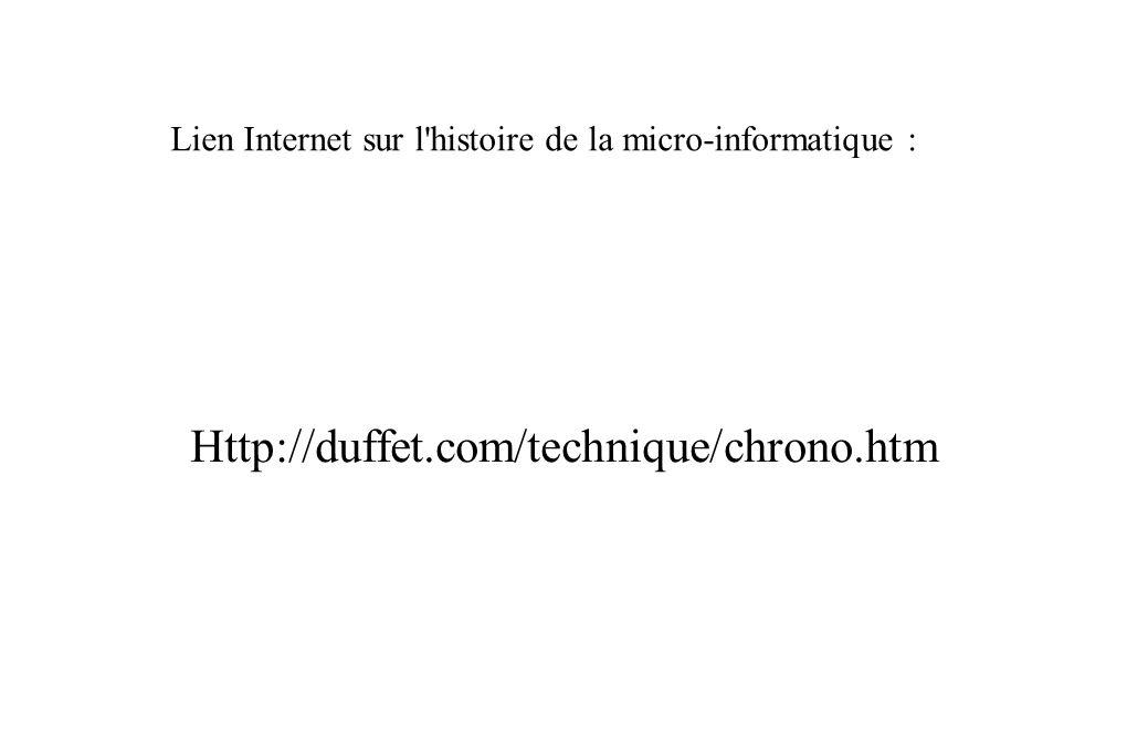 Http://duffet.com/technique/chrono.htm Lien Internet sur l histoire de la micro-informatique :