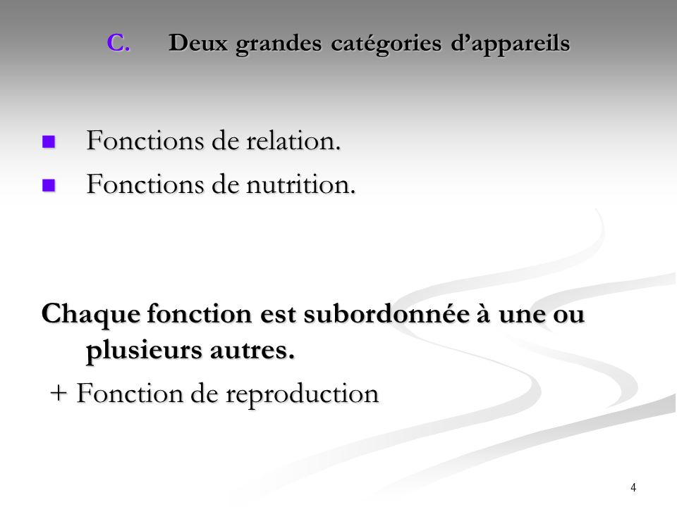 4 C.Deux grandes catégories dappareils Fonctions de relation. Fonctions de relation. Fonctions de nutrition. Fonctions de nutrition. Chaque fonction e