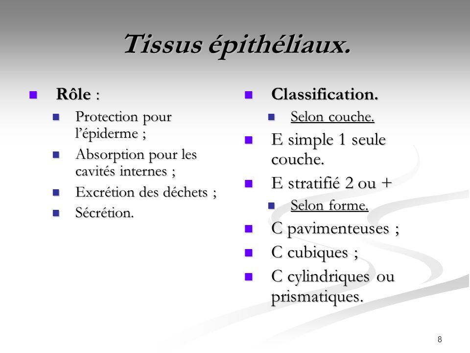 8 Tissus épithéliaux. Rôle : Rôle : Protection pour lépiderme ; Protection pour lépiderme ; Absorption pour les cavités internes ; Absorption pour les