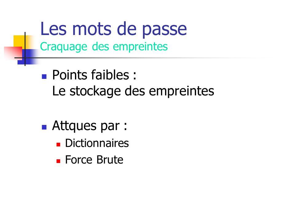 Les mots de passe Craquage des empreintes Points faibles : Le stockage des empreintes Attques par : Dictionnaires Force Brute