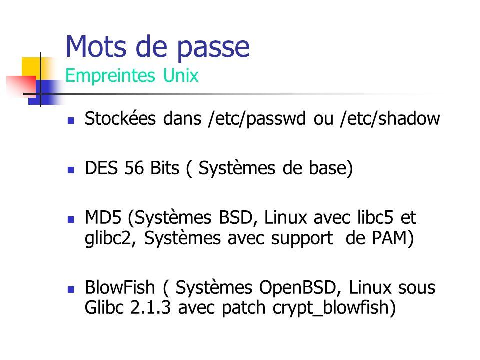 Mots de passe Empreintes Unix Stockées dans /etc/passwd ou /etc/shadow DES 56 Bits ( Systèmes de base) MD5 (Systèmes BSD, Linux avec libc5 et glibc2, Systèmes avec support de PAM) BlowFish ( Systèmes OpenBSD, Linux sous Glibc 2.1.3 avec patch crypt_blowfish)