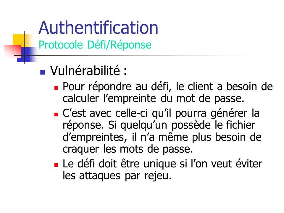 Authentification Protocole Défi/Réponse Vulnérabilité : Pour répondre au défi, le client a besoin de calculer lempreinte du mot de passe.