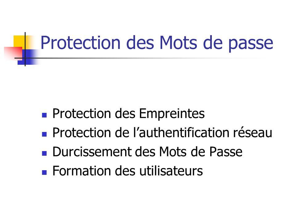 Protection des Mots de passe Protection des Empreintes Protection de lauthentification réseau Durcissement des Mots de Passe Formation des utilisateurs