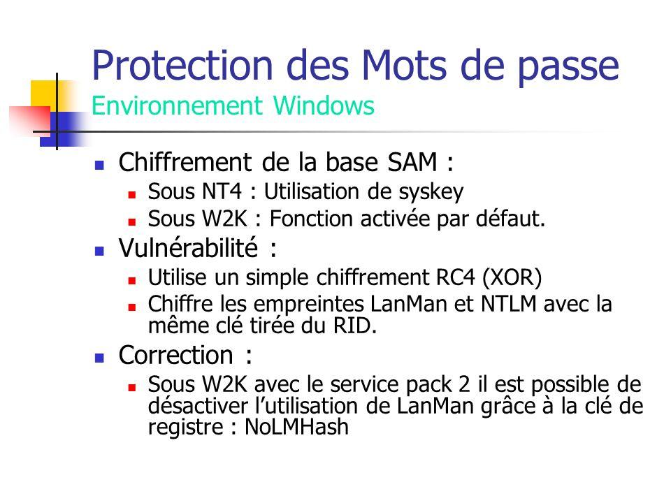 Protection des Mots de passe Environnement Windows Chiffrement de la base SAM : Sous NT4 : Utilisation de syskey Sous W2K : Fonction activée par défaut.