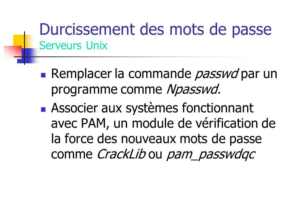Durcissement des mots de passe Serveurs Unix Remplacer la commande passwd par un programme comme Npasswd.