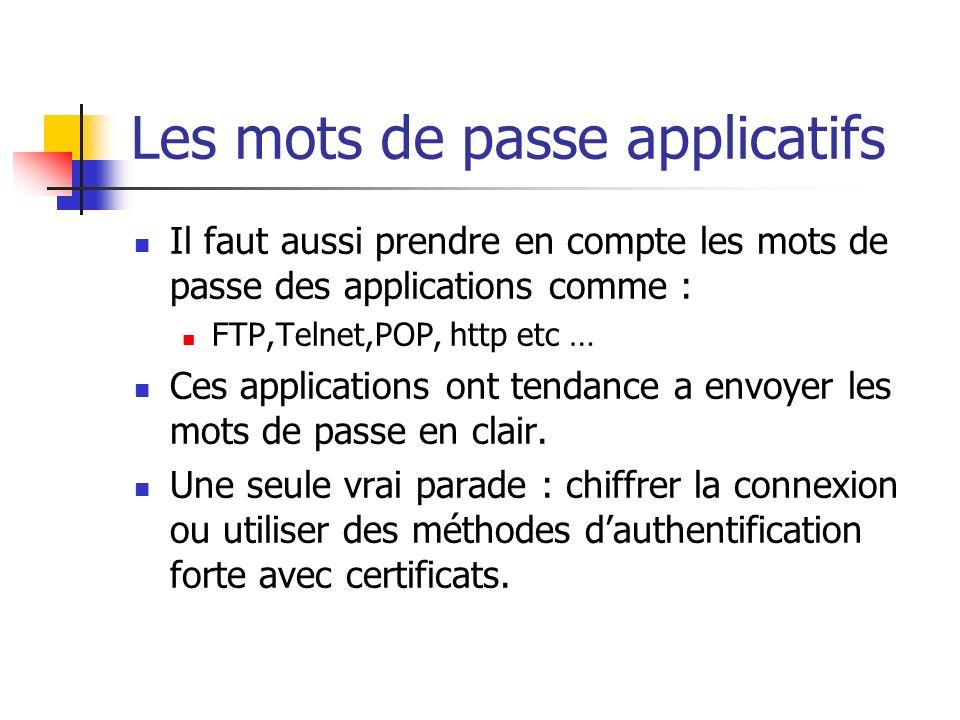 Les mots de passe applicatifs Il faut aussi prendre en compte les mots de passe des applications comme : FTP,Telnet,POP, http etc … Ces applications ont tendance a envoyer les mots de passe en clair.