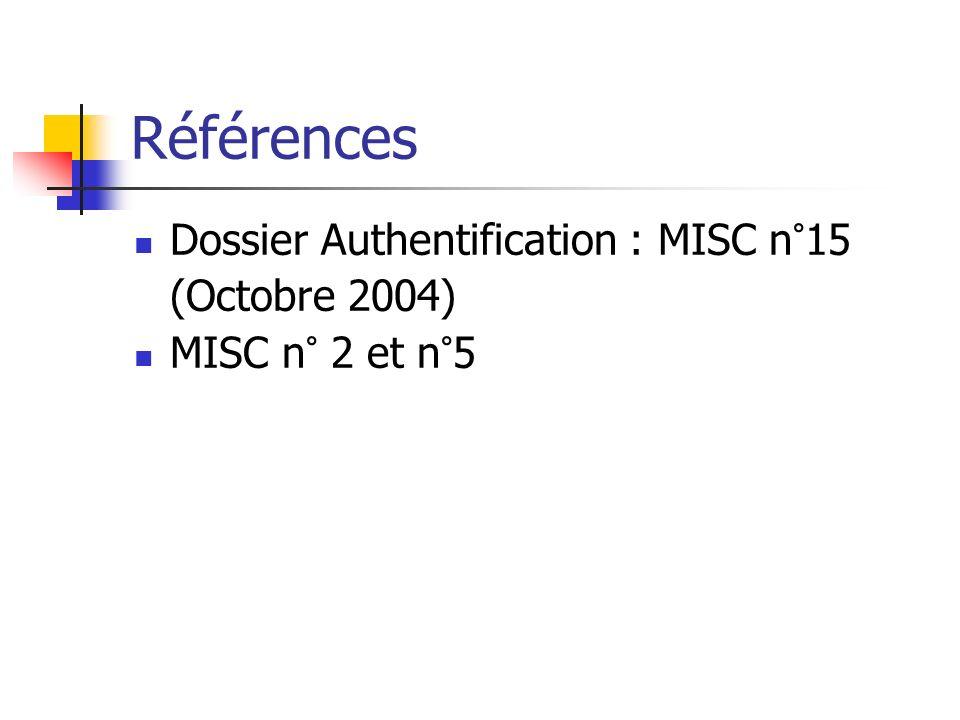 Références Dossier Authentification : MISC n°15 (Octobre 2004) MISC n° 2 et n°5