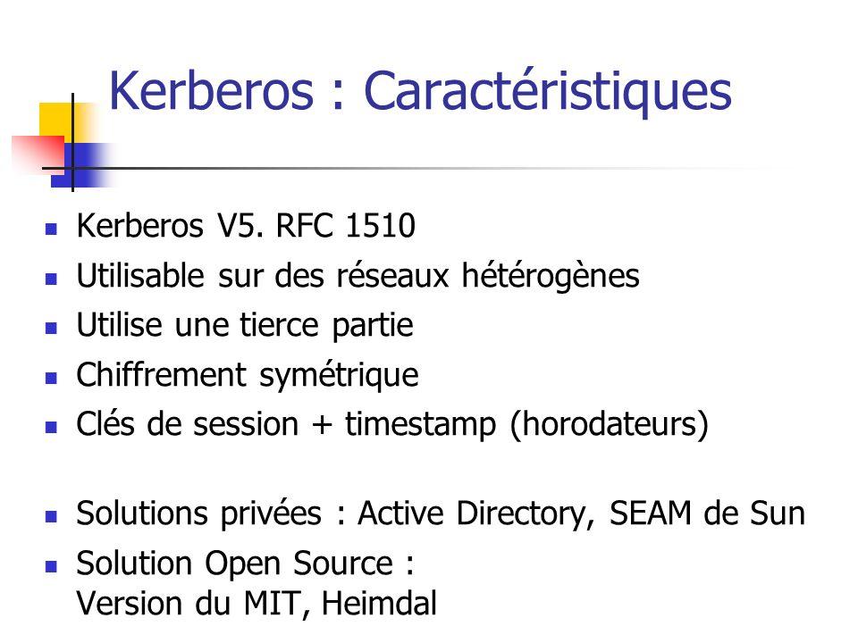 Kerberos : Caractéristiques Kerberos V5.