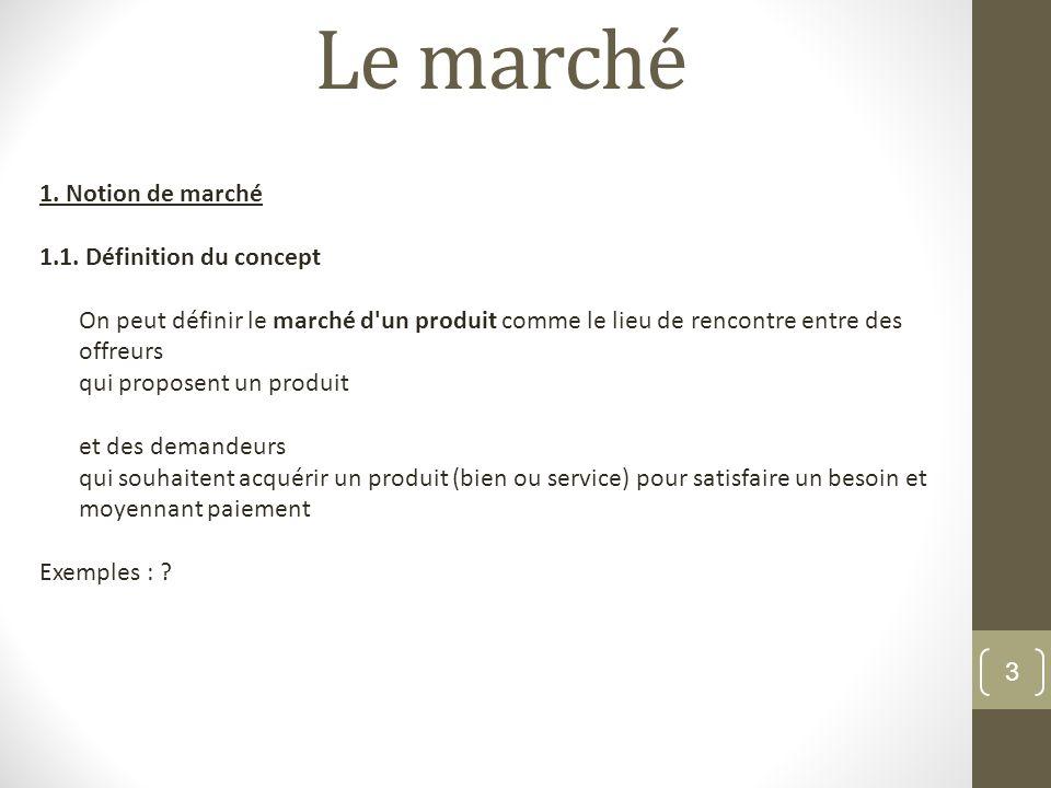 Le marché 3 1. Notion de marché 1.1. Définition du concept On peut définir le marché d'un produit comme le lieu de rencontre entre des offreurs qui pr